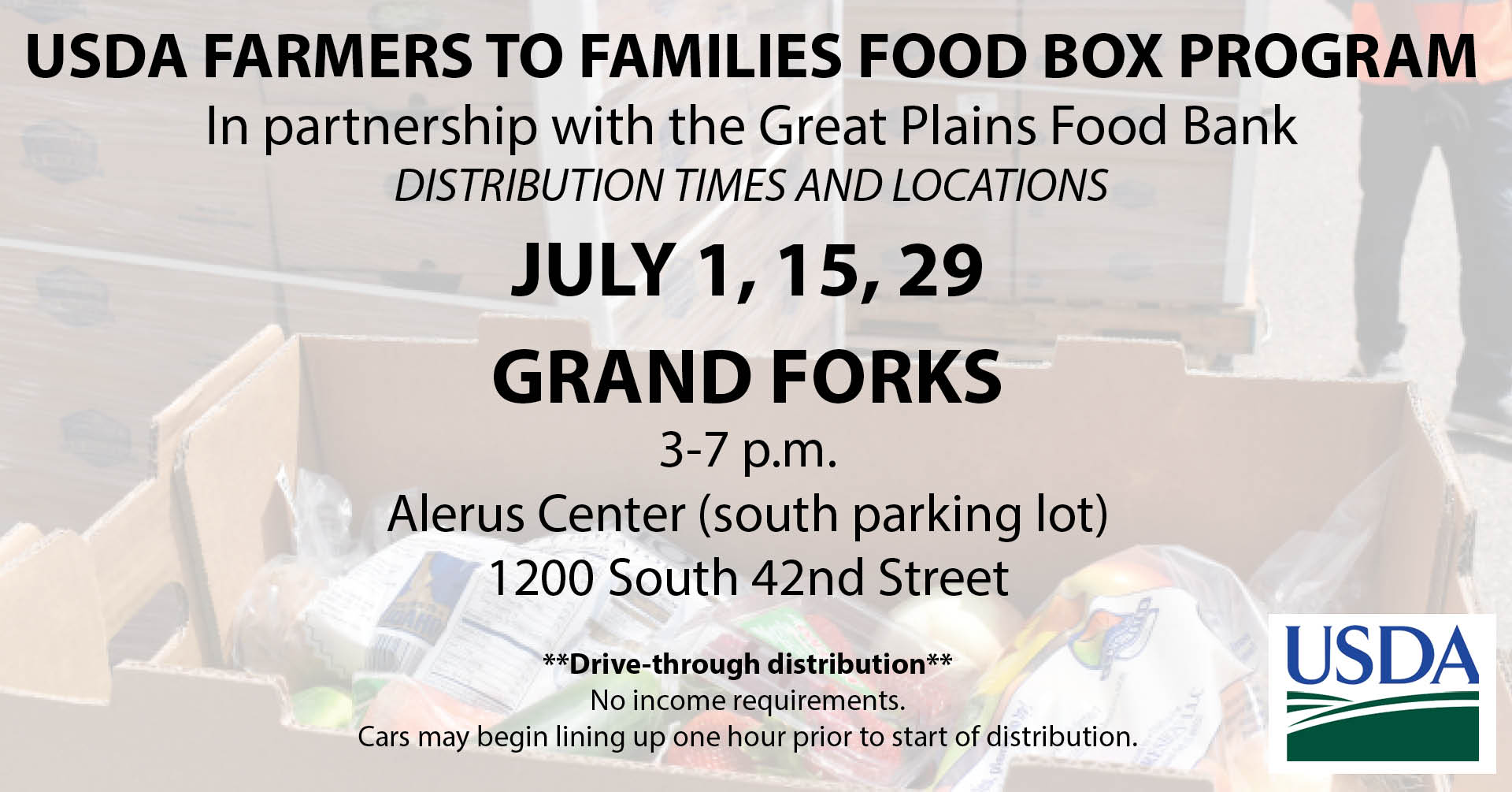 USDA Farmers to Families Food Box Pick Up